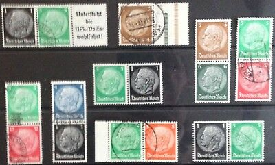 Germany Third Reich 1933-1936 Hindenburg issues in Pairs & Tabs MLH & Used