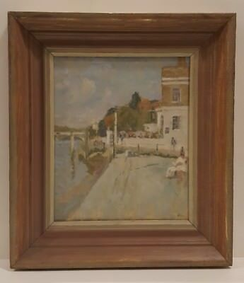 20th Century impressionist oil painting river landscape Richmond Surrey signed