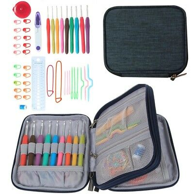 45 Set Crochet Hooks Knitting Needle Kit Organizer Case DIY Craft Home Supplies