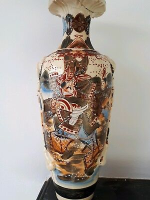 Antique Japanese satsuma large vase signed Meiji tall 39cm