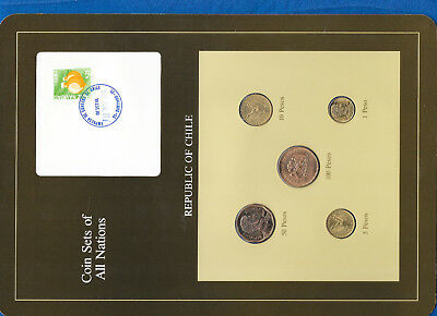 Coin Sets of All Nations Chile w/card UNC 100 Pesos 1987 50,10,5,1 Pesos 1989