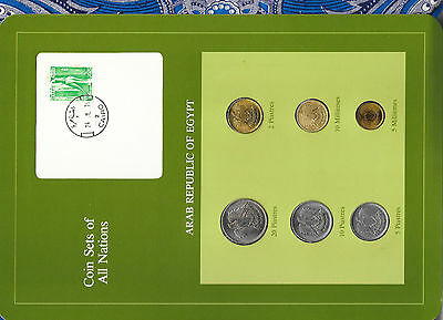 Coin Sets of All Nations Egypt 1972-1980 UNC 10, 5 Milliemes 1973