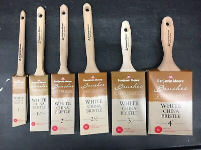 """Benjamin Moore White China Bristle Oil Paint Brushes Sizes 1"""" to 4"""""""