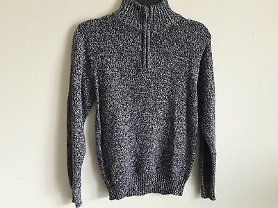 Boys sweater zipper neck brand Basic Editions new with tags color blue-gray