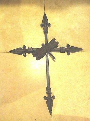 Handmade Cross Dragonfly Rustic Wall Crucifix Spear Finials MADE IN USA