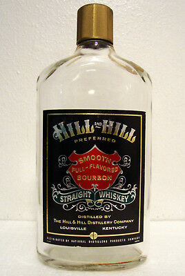 Vtg 60s 1967 HILL & HILL Kentucky Whiskey Empty ONE PINT BOTTLE w/ Black Label