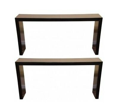 Pair of Chinese Hardwood Black Lacquer Console Tables (40879)