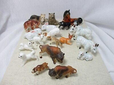 20 pc Lot Bone China Miniature Animal Figurines Bear Horse Dogs Bison Goats Sets