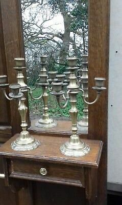 Pair Of Antique 19Thc Heavy Brass 4 Arm.french Candlesticks/candleabra 35Cm High