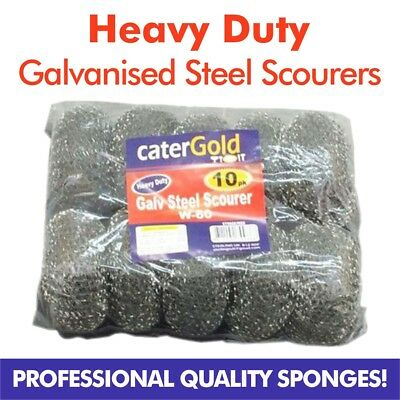 Heavy Duty Galvanised Metal Scourers Extra Large Catering BBQ W-60 - Pack of 10