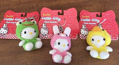 3 NEW 2001 Sanrio HELLO KITTY Plush Keychains Bunny Chick Frog