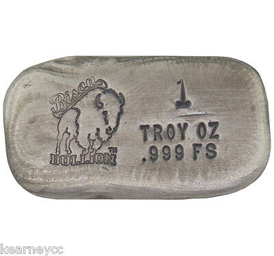 1 Troy Ounce .999 Fine Silver Hand Poured Bison Bullion Standard Bar Nebraska