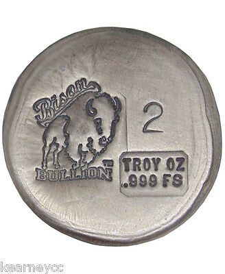 2 Troy Ounce .999 Fine Silver Hand Poured Bison Bullion Standard Round Nebraska