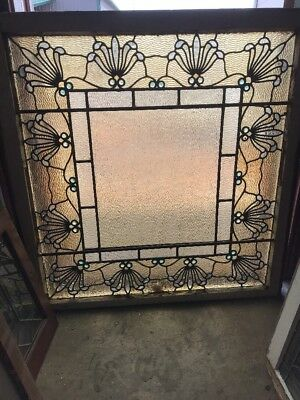 Sg 2167   2Av Sold Separate Antique Textured Jeweled Landing Window 39.25 X 38 H