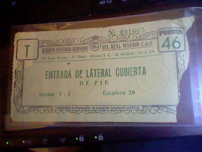 Ticket 18-3-1959 Iv Europe Cup  Champions Real Madrid Vs Wiener S.c. Football