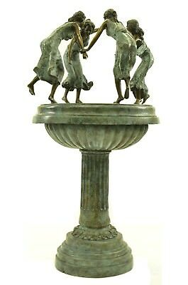 Art Deco Nouveau Style Exotic Ladies Dancing Fountain Bronze Sculpture Statue