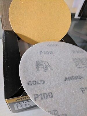 "Mirka 23-612-100 Gold 5"" Hook & Loop Grip Sanding Discs 100 Grit 50/ct"