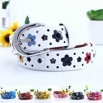 Fashion Baby Leather Casual Buckle Adjustable Floral Kids Girls Belt Waist Boys