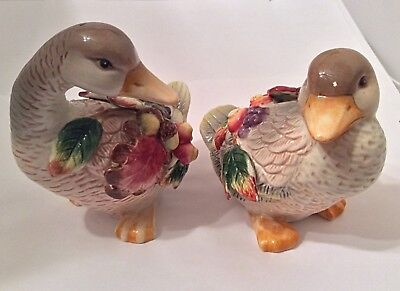 FF Handcrafted China Ceramics - Large Ornate Salt and Pepper Shakers - Fowl