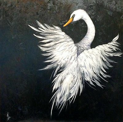 """Angel in Flight"" Original Oil Painting swan bird wings feather feathers stork"