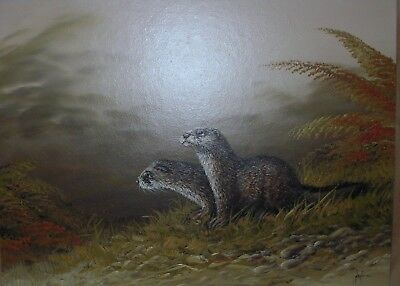 Vintage Oil On Board Mike Nance  Otters