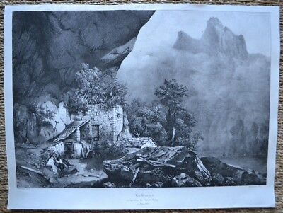 Lithography 19th - The Beaumes - Ruins of the Castle Red - Languedoc