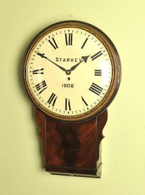 EARLY LARGE FUSEE CONVEX WOODEN DIAL CLOCK - Starkey dated 1808