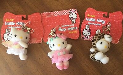 3 NEW 2001 Sanrio HELLO KITTY Plush Keychains Leopard Ballerena Angel