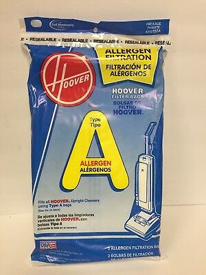 Hoover Vacuum Bags * 3 Bags * Type A * Fits all Hoover Upright Cleaners * New
