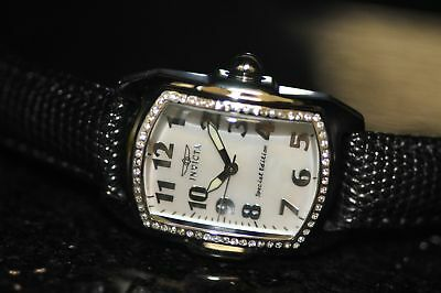 Invicta Women's Rare Lupah White MOP Dial Black Genuine Leather Watch 20524