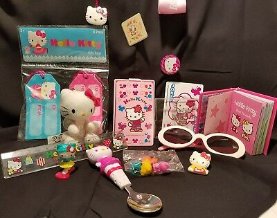 Vtg HELLO KITTY Lot Sunglasses Cards Book Pin Eraser Plush Pez Spoon Clip SANRIO