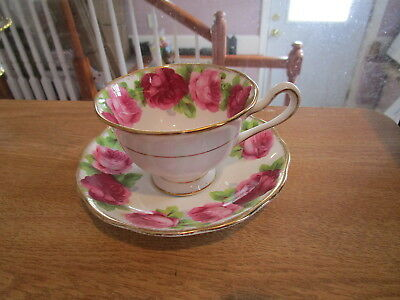"ROYAL ALBERT ""Old English Rose"" Cup & Saucer - Avon Shape w/Round Handle #1"