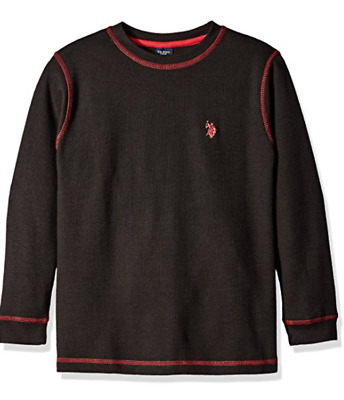 NWT U.S. Polo Assn. Boys' Long Sleeve Solid Crew Neck Thermal 6 Colors to choose