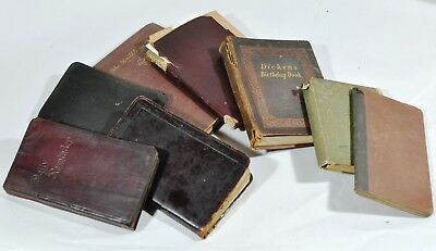 Lot of 8 Antique/Vintage Note Books Diary Scrap Book Etc Some Leather Covers