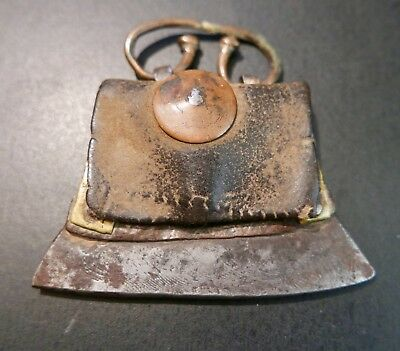 Primitive Antique Tibetan Leather Flint Case and Fire Striker,  19th c