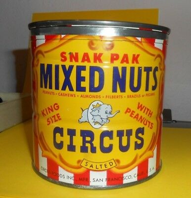 """Vintage 1955 Circus """"Nutsy's Favorite"""" Mixed Nuts KING SIZE Tin 13.5 Oz. W/Lid"""