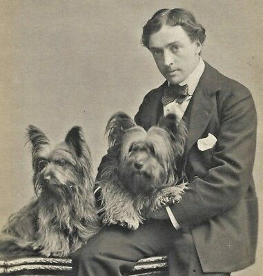 Vintage Dog RPPC~British Actor Martin Harvey & Two Skye Terriers~Real Photo Card