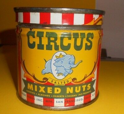 Vintage 1946 Circus Foods Salted Mixed Nuts Tin=4 Oz. With Lid