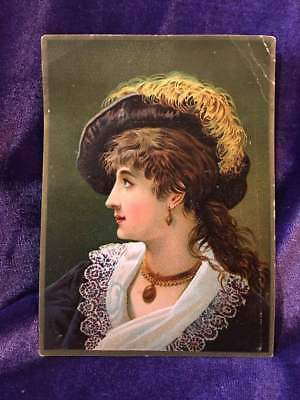 Grand Union Tea Co. trade card- woman with ostrich plume hat and lace collar