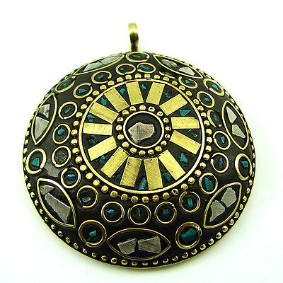 Solid Brass Green Malachite Gemstone Antique Ethnic Vintage Nepali Pendant 272
