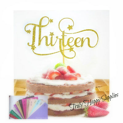 """13th Birthday Cake Topper """"Thirteen"""" Thirteenth Party Decorations Many Colours"""