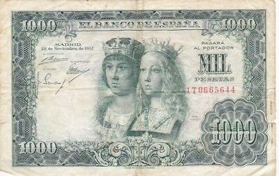 1957 Spain 1,000 Pesetas Note, Pick 149a