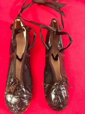 Vintage Leather Ballet Slippers Shoes 50's 60's