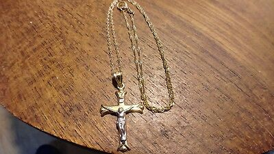 "14KT White & Yellow Gold CROSS Necklace with 10KT 18"" Gold Chain NO RESERVE"