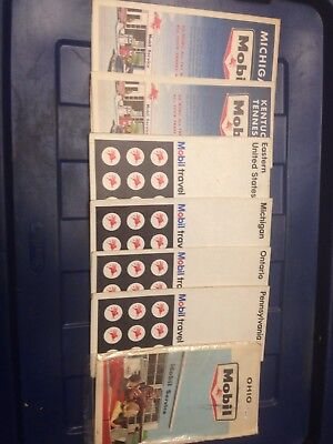 Vintage Mobil Maps Gas Oil Lot Of 7