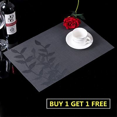 Black PVC Home Dining Room Table Placemats Stain-resistant Heat Insulation Mats