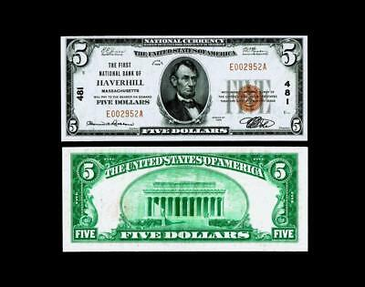 Haverhill, MA - $5 1929 Ty. 1 The First NB Ch. # 481~~Choice UNCIRCULATED