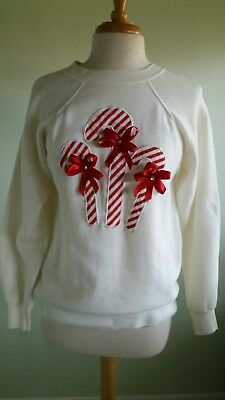 Vintage Christmas White Red Candy Canes Red Ribbon Sweatshirt 80's Womens Teens