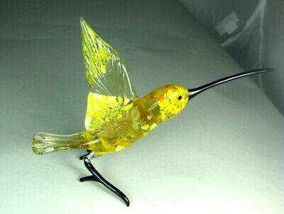 blown glass animal   hummingbird green  wings  murano figurine art Fast shipping