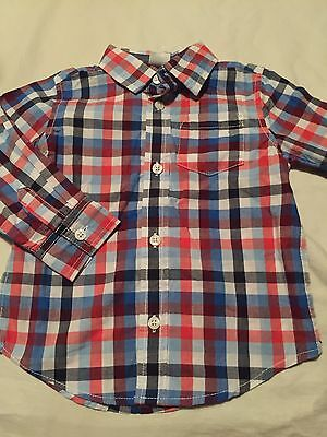 Gymboree Huddle Up Boys Long Sleeve Button Up Shirt Size 18-24 Months NWT
